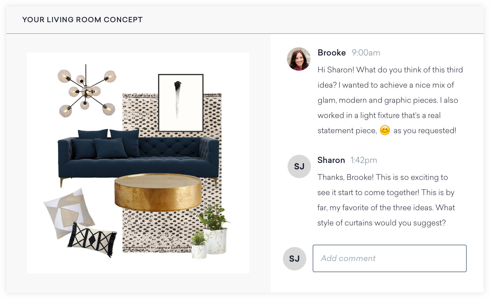 An Example Message Screen Shows How You Collaborate With Your Interior Designer