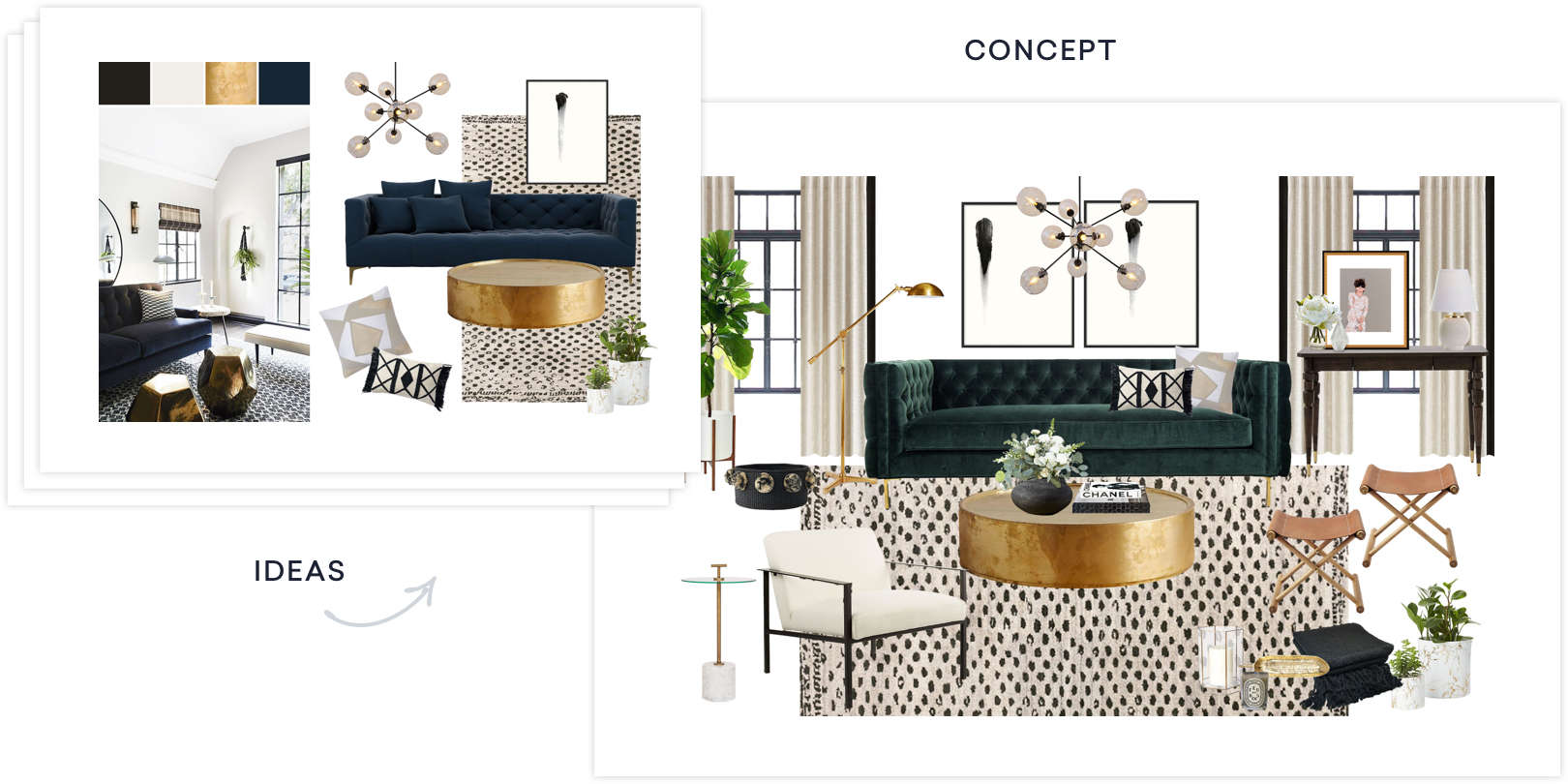 sample idea and concepts with personalized products picked by an interior designer