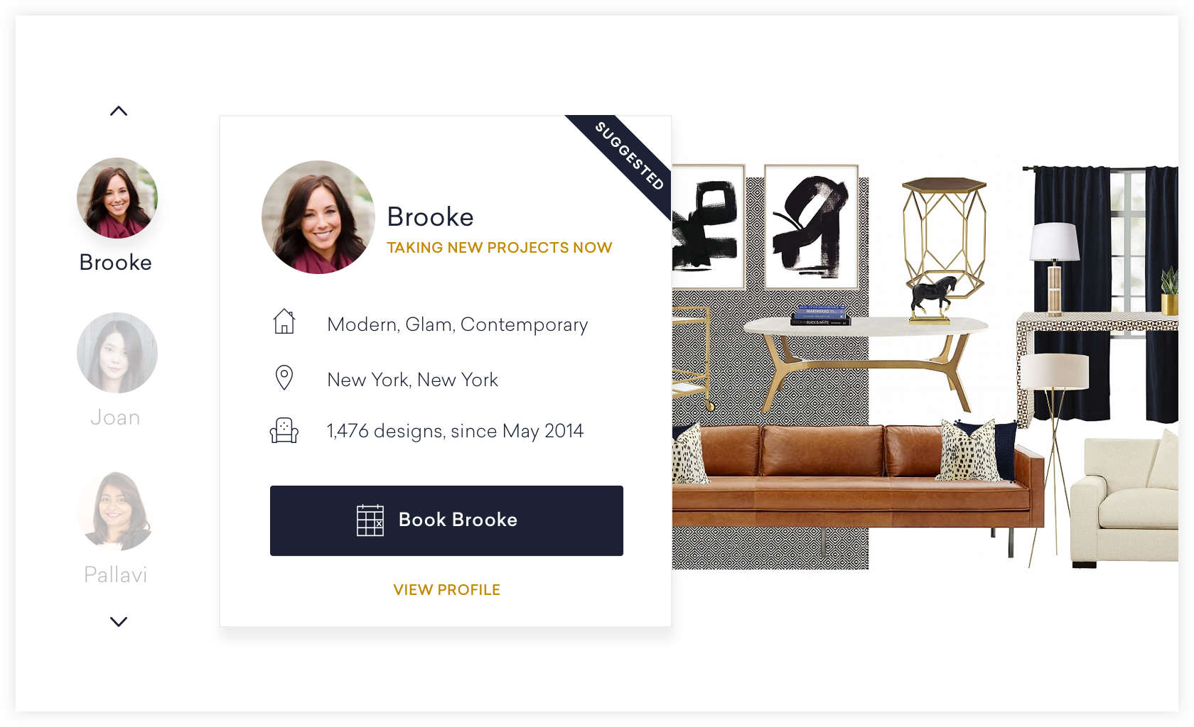 Example Page To Review Interior Designer Profiles And Pick Who You Want To Design  Your Room