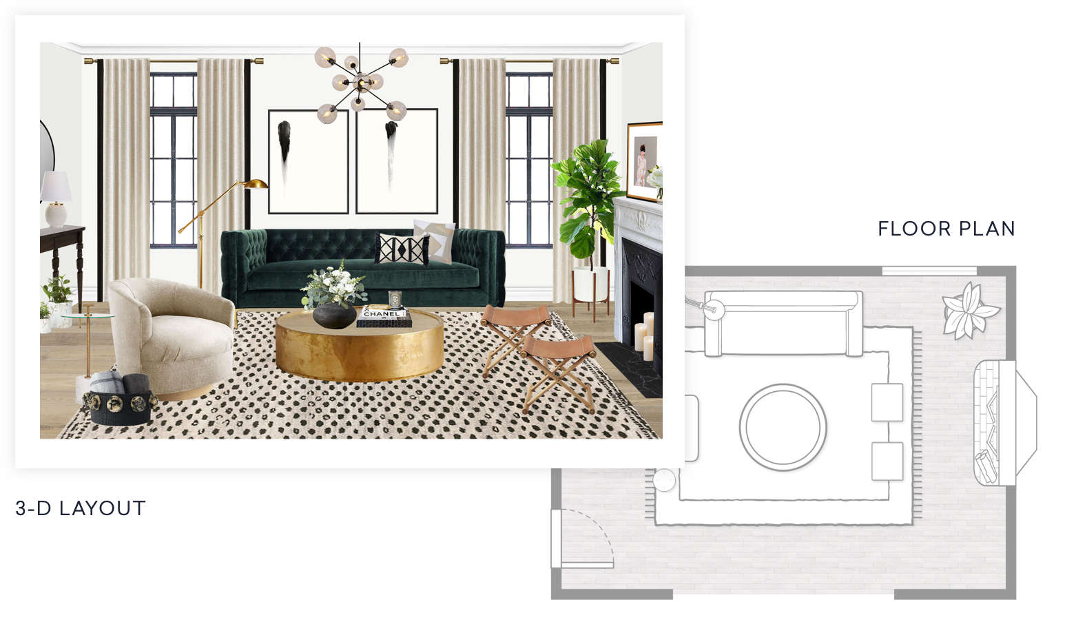 An example 3 D layout and floor plan built by an interior designer. Online Interior Design   Decorating Services   Havenly
